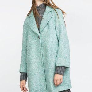 Zara mint green peacoat mod oversized coat